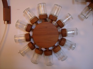 WOW, check this out!! Danish teak/glass spice wheel (12 spice jars), it mounts to the wall and spins - you have to see this wonderful Danish creation - circa 1965 manufactured by Digsmed - (SOLD)