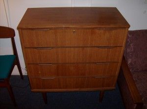 Superb Mid-century modern Danish teak 4 drawer highboy dresser w/dovetails - comes with the original keys - it is a 7 out of ten, and with a little work on your end it could become a 10 out of 10 - as is - a steal for (SOLD)