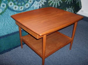 Stunning 2 tier Danish teak end table w/ a sliding drawer under the top that slide from one side to the other - a true beauty- and super high quality - (SOLD)