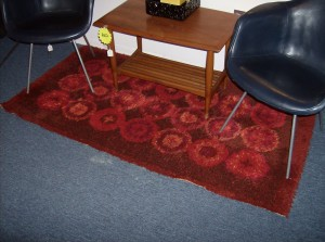 Fantastic Mid-century modern shag rug circa 1960's - the color is several shades of red - 3'X6' - ONLY - (SOLD)