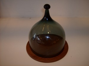 Absolutely stunning Norweigan solid teak cheese board w/a beautiful steel blue glass dome - (SOLD)