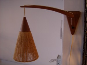 Super cute Mid-century modern teak and jute wall light - (SOLD)