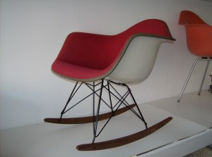 Original Eames for Herman Miller seat(with Alexander Girard Magenta fabric on a NEW American made rocker base  - SOLD