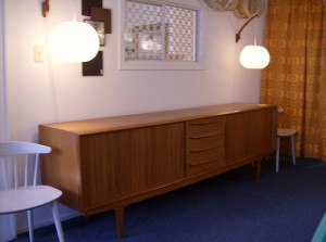 "Stunning Mid-century modern Danish teak sideboard w/lovely tambour doors, dovetail drawers,killer legs and a beautifully finished back - manufactured by Bernhard Pedersen and Son - top tier quality - this handsome piece measures 98.5""length X 21.25""deep and 31.5"" high - (SOLD)"