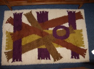 "Fabulous 1960's Rya Rug - cream/shades of brown and yellow and purple - really beautiful - great pattern - 5 ft X 40"" - (SOLD)"