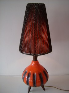 Fantastic Retro 3 legged ceramic lamp w/original shade by Canadian designer - Maurice Chalvignac - Quebec - (SOLD)