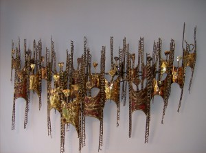 WOWZA - check out this crazy fantastic Vintage Metal Wall Art - I think I see a row of people in there somewhere - this piece would look spectacular in any Mid-century modern home and/or office - (SOLD)