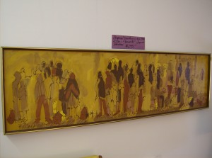 "Original vintage signed Mackay painting - titled - ""People""  - a super fantastic painting - It measures - 55"" X 16"" - (SOLD)"