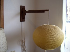 Killer Mid-century modern adjustable teak wall lights w/super cool spun fiber shades - the glow is unbelievable - a pair available at (SOLD)
