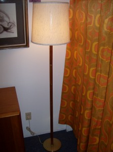 Super sleek 1960&#039;s teak/brass floor lamp - really nice quality - comes with a neutral vintage fabric lamp shade - (SOLD)