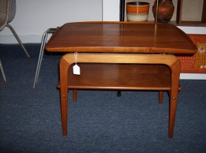 "Super sleek - high quality Danish teak 2 tier end table w/really nice curves - Dimensions - 26""L - 18.75""W - 21"" H -(SOLD)"
