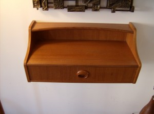 "Fantastic teak wall shelf w/drawer - made in Sweden circa 1960's/70's - quality piece - great for an entrance way/beside your bed... you decide!! It measures 17.75""L  8.25""D 8.25"" H - (SOLD)"
