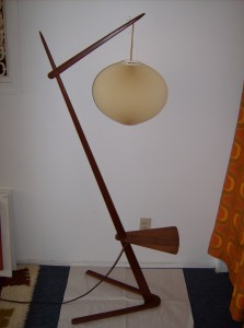 Killer 1960&#039;s teak floor lamp w/small table and a Le Klint shade - clear a spot for this beauty - (SOLD)