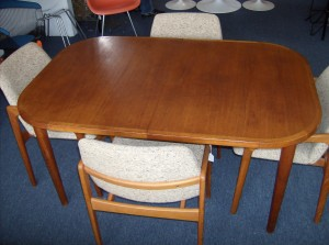 "Quality Vintage teak dining table w/built in butterfly leaf - measures 57.5""X38""X28"" - (SOLD)"