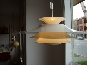 Super fly vintage metal tiered pendant light - perfect for over your dining table - very much in the style of Poul Henningson - (SOLD)