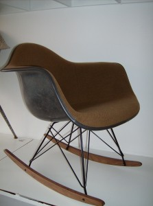 Original vintage Eames arm chair on a NEW American rocker base(black metal w/maple runners) - (SOLD)