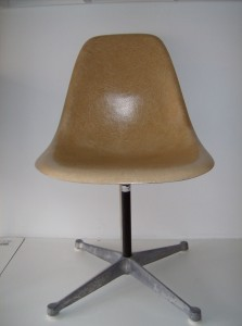 Original vintage Eames fiberglass side chair on an original vintage office swivel base - (SOLD)