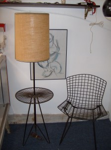 Unbelievable 1950's Atomic wrought iron floor lamp/table - with it's original burlap shade - 2 available - (SOLD)