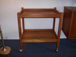 "Super functional vintage teak bar cart - really nice condition - Measures - L - 26""  W - 17"" H - 27.75"" - (SOLD)"