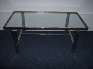 "1960's Chrome and glass coffee table - great design/quality/and a great price and good vintage condition - dimensions 41"" long X 21""wide X 16"" height - $195"
