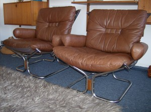 Incredible pair of vintage Harald Relling for Westnofa leather and chrome lounge chairs - oh, you just sink into these chairs... you won't want to get out - trust me - Style and Comfort!!! - (SOLD)