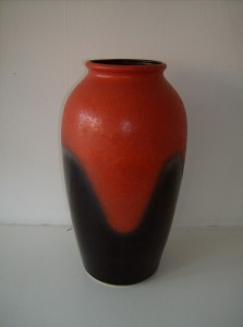 "Delicious West German vase - it stands 17"" high - the orangey red glaze is stunning - this piece was manufactured by Jasba - (SOLD)"