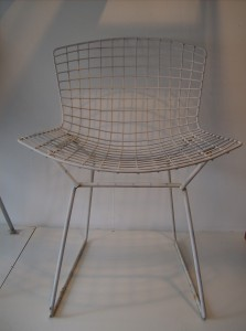 Original Vintage Harry Bertoia wire chairs in white - could use a repainting, but look good as is - they come w/orginal Knoll seat pad (discolored) - 3 available at (SOLD)
