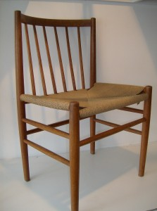 Incredible pair of Danish oak/rush seat chairs designed by Jorgen Baekmark for FDB Mobler - excellent condition - $495/pair