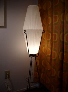 Killer 1950&#039;s Atomic floor lamp - tripod metal legs with a ribbed plastic shade - (SOLD)