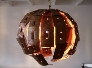 Check out this super crazy, super cool 1970&#039;s metal and copper hanging light - created in Edmonton at the U of A for a Thesis project - One of a Kind - (SOLD)