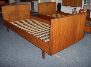 Incredible Danish teak single beds - amazing quality and craftsmanship - even the side rails are solid teak - the patina and grain are to die for - Sold seperately as singles, however you could put them together and make a king bed - (SOLD)