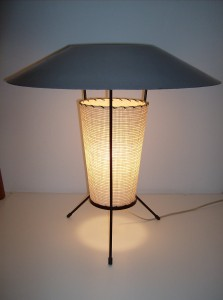 Killer 1950&#039;s atomic table lamp - wrought iron tripod legs - the fiberglass torso is in great condition - the unusual grey metal top has some paint loss, but still looks fab - it stands 19.5&quot; high - (SOLD)