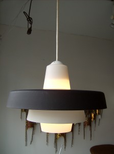 Fabulous Mid-century modern metal/glass pendant light - super nice condition - $95