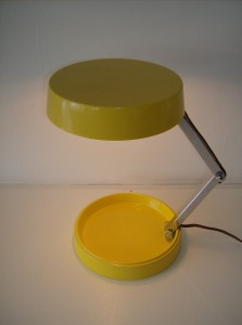 Killer vintage adjustable metal desk lamp - really nice condition - bright yellow - (SOLD)