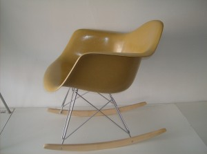 Original vintage Eames mustard yellow fiberglass arm shell chair on a NEW American made rocker base with beech runners- (SOLD)