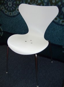 Original Arne Jacobsen Ant chair for Fritz Hansen - Denmark - 1973 - Color - white - unfortunately someone's repair was to put 3 bolts through the seat - so yours for only - (SOLD)