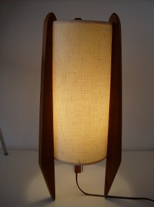 Mid-century modern teak rocket style table lamp - measures - 21&quot; high - (SOLD)