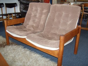 "Fantastic Mid-century modern teak loveseat with floating seat/back by Danish maker - Domino - great condition - great price - it measures 47""length X 26"" depth X 14.5"" to the seat deck - (SOLD)"