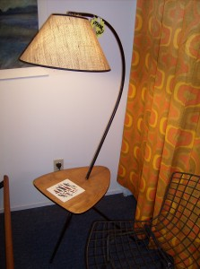 Unbelievable 1950&#039;s 3 legged metal arc floor lamp with a rounded triangular wood table with a fish tile - super well made - very atomic - Love it - (SOLD)