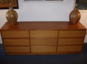 "Incredible Danish teak 9 drawer dresser and/or credenza - this piece has beautiful dovetailed drawers, nice solid teak handles - gorgeous grain and patina - it measures - 76""L X 19"" Width X 29""height - (SOLD)"