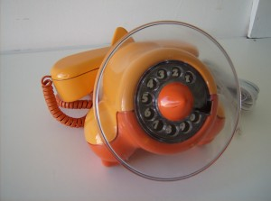 WOW, you don't see these everyday!! This Fabulous Retro Canadian made phone was designed in 1972 by John Tyson - condition - great - this phone dials out and receives calls, but does not ring - (SOLD)