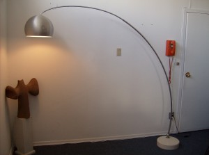 Extraordinary vintage adjustable arc lamp - brushed aluminum &amp; chrome with a circular marble base for stability - perfect for over your coffee table/dining table/desk you decide - nice vintage condition with just a few minor dents in the aluminum shade - super price - (SOLD)