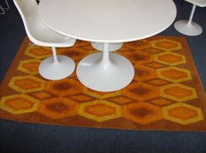 "Vintage rug -  Did you say you need a pop of colour in your Mid-century modern/Retro inspired home - well this may be it - great size and condition - measures - 54""X 78"" - (SOLD)"