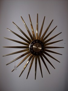 "WOWZA - Unbelievabley large vintage starburst wall clock by Ingram - 28"" diameter - some of the brass finish has come off in a few of the spikes - Only - (SOLD)"