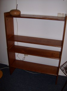 Super functional 4 level teak bookcase/shoe shelf - many many uses - some marks - not perfect - (SOLD)