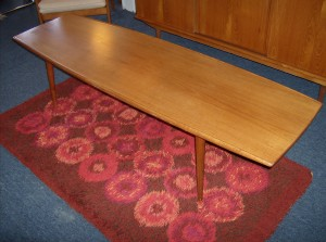 Spectacular 6 foot long Danish teak coffee table with a killer raised lip on the long edges - super quality -  (SOLD)