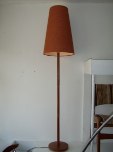 Fantastic Mid-century modern teak floor lamp w/orginal burnt orange cone shade - (SOLD)
