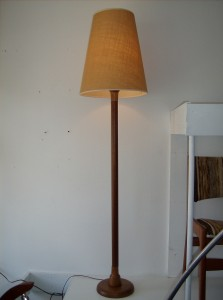 Handsome Mid-century modern teak floor lamp w/original cone shade - excellent condition - perfect for a warm yet minimalist look - (SOLD)
