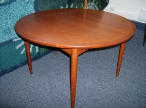 "Striking Danish teak round coffee table - manufactured by Mobelintarsia - Denmark - beautiful condition - 3.5"" diameter - (SOLD)"
