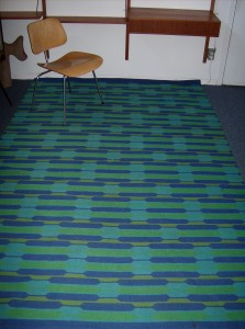 "Unbelievably striking Mid-century modern Danish wool carpet - 9ftX70"" - really good condition - very vibrant - (SOLD)"